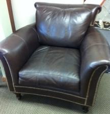 SOLD: Ferguson Copeland Dark Brown Leather Chair With Nailhead Trim   $600  41wx34.5hx42d