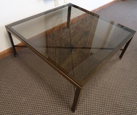 Bronze Glass X Stretcher Coffee Table
