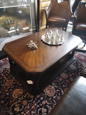 Dark Wood Coffee Table On Wheels
