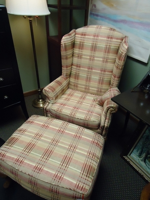 Plaid Wingback Chair And Ottoman Set